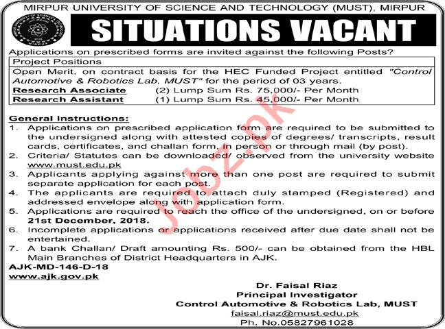 Research Associate Job Opportunities MUST