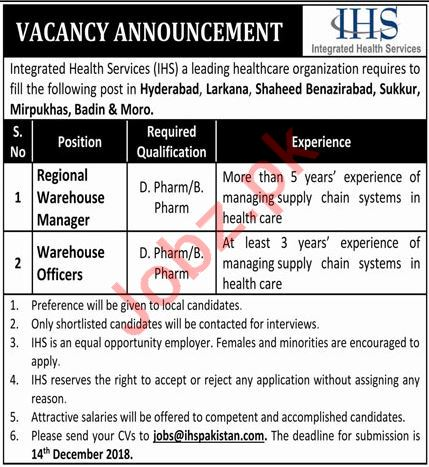 Integrated Health Services Regional Warehouse Manager Jobs