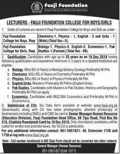 Fauji Foundation College For Boys  Lecturers Jobs