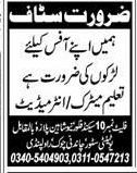 Male  Staff Job Opportunity