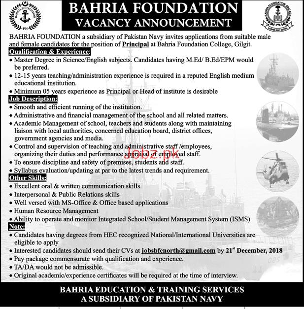 Male / Female Principal Job in Bahria Foundation College