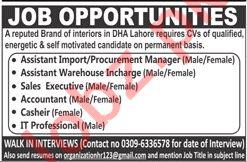 Assistant Manager, Procurement Manager & Sales Executive Job