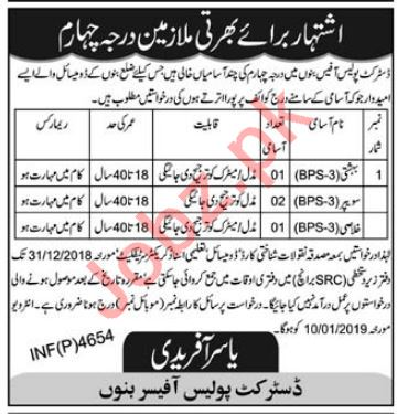 District Police Bannu Jobs 2019 for Labors