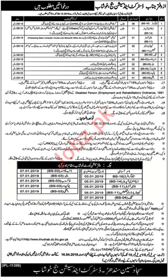 District & Session Court Khushab Jobs Data Entry Operators