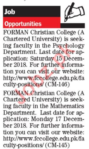 Forman Christian College Lahore Jobs 2019 for Lecturers