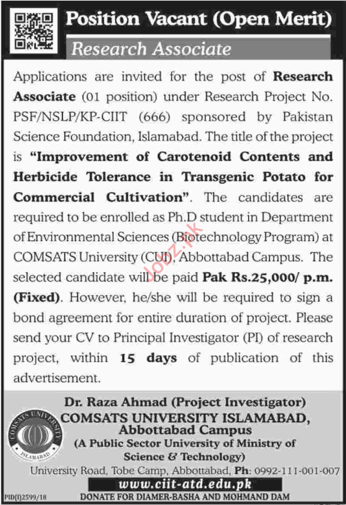 Comsats University Abbottabad Jobs 2019 Research Associate