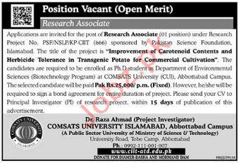 Comsats University Islamabad Research Associate Jobs 2019