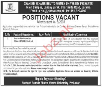 Director Administration Jobs in Benazir Bhutto University