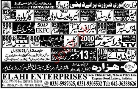 Waiter Kitchen Steward & Airpoert Loader Jobs in Dubai