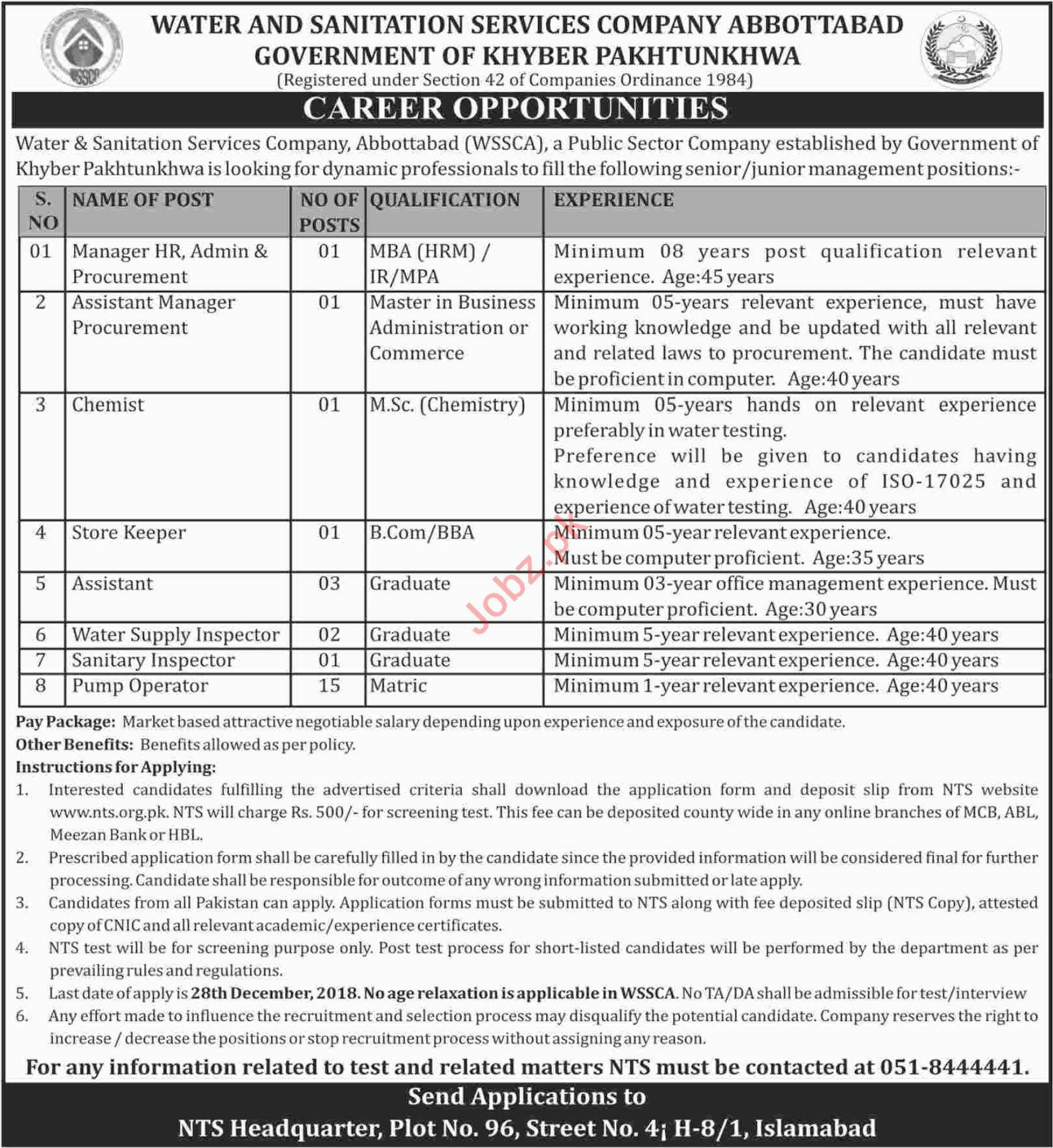 WSSC Abbottabad Jobs 2019 for Managers & Pump Operators