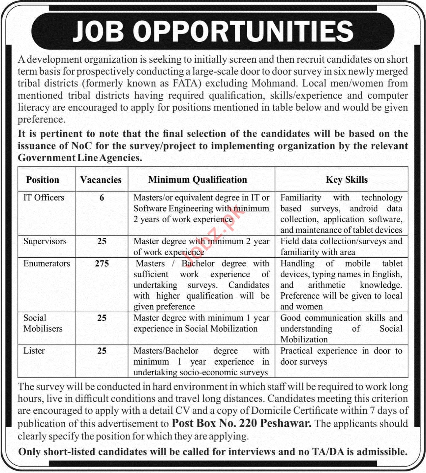 Development Organization Fata Jobs 2019 For Enumerators