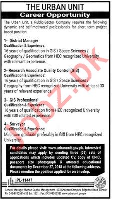 The Urban Unit Lahore Jobs 2019 for Managers & Surveyors