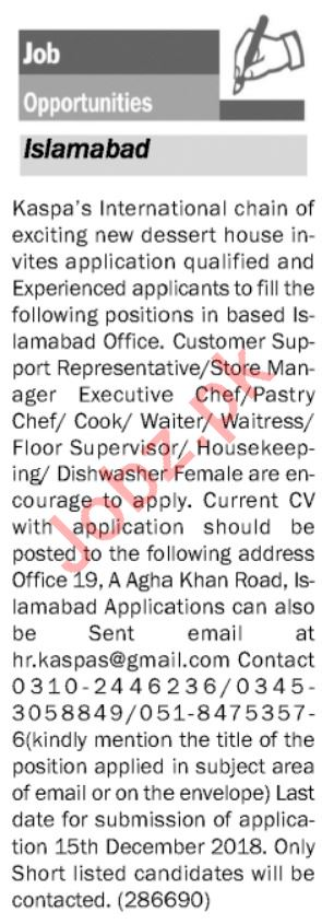 Store Manager, Executive Chef, Pastry Chef & Waiter Jobs