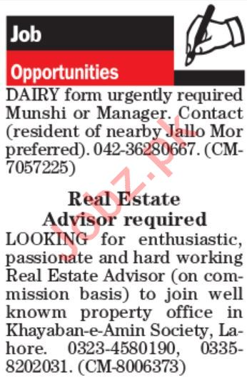 Manager & Real Estate Advisor Jobs 2019 in Lahore