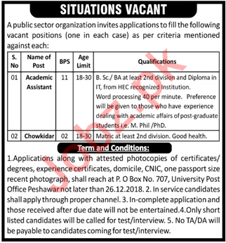 Academic Assistant & Chowkidar Jobs 2019 in Peshawar KPK