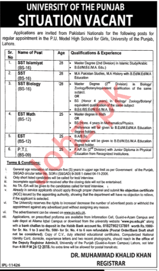 Punjab University Model High School For Girls Jobs 2019 Job