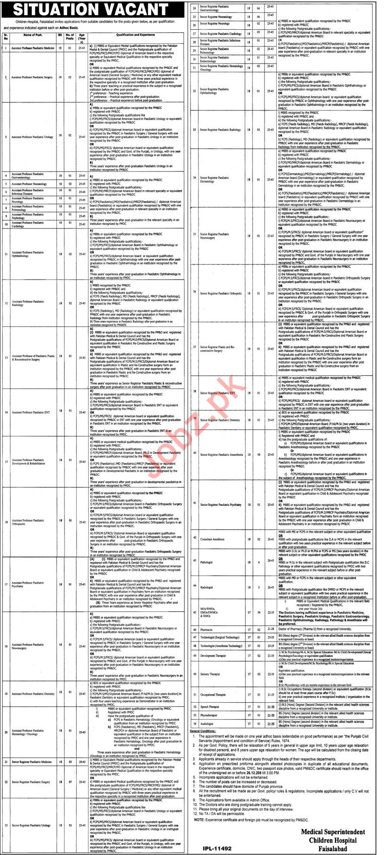 children hospital faisalabad medical jobs 2019 job