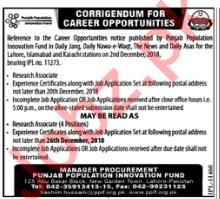 Punjab Population Innovation Fund PPIF Researchers Jobs 2019