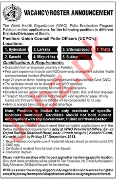 Council Polio Officers UCPOs Jobs 2019