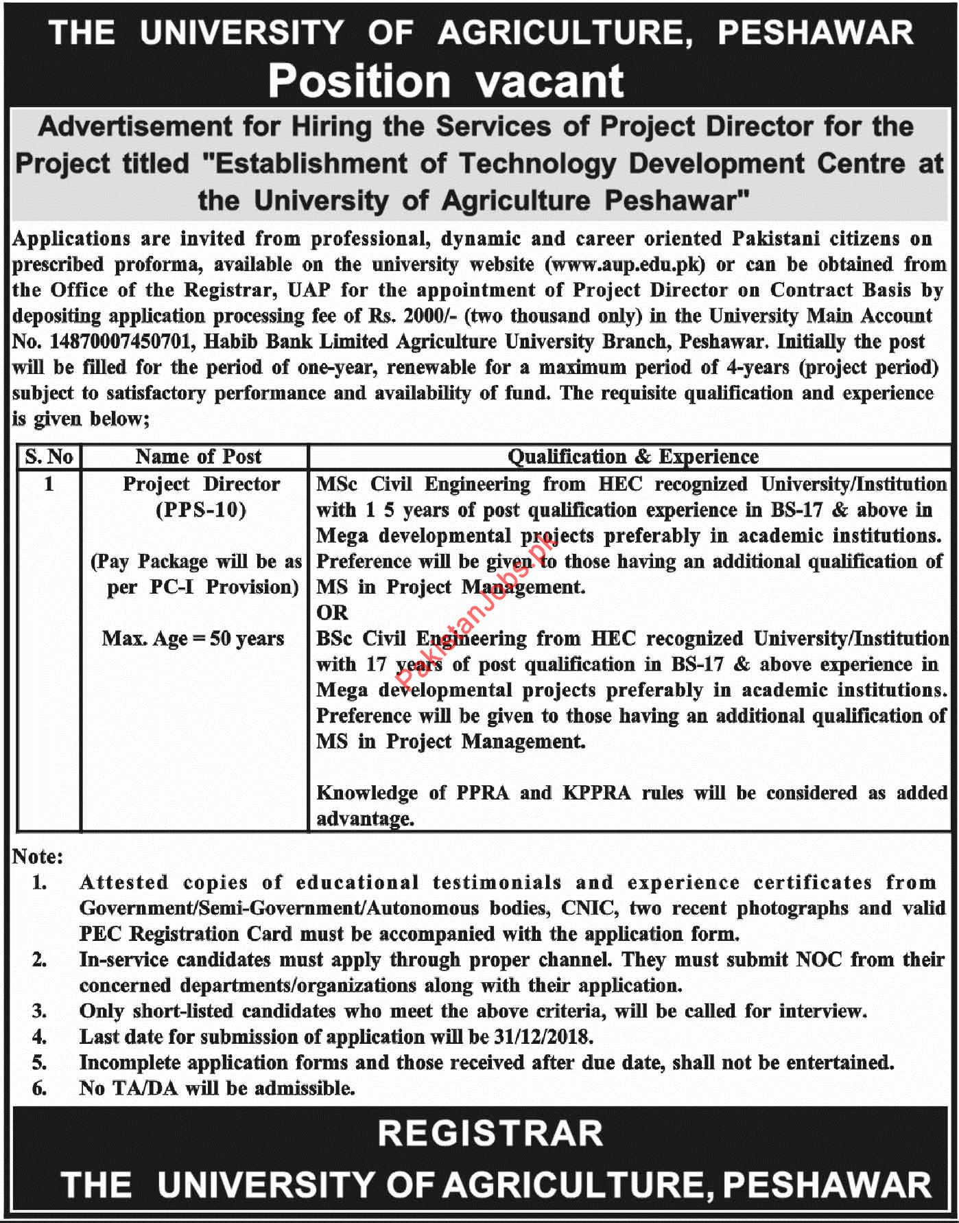 Project Director Jobs in University of Agriculture