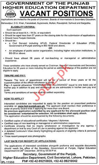 Chair Man BISE Jobs in Higher Education Department