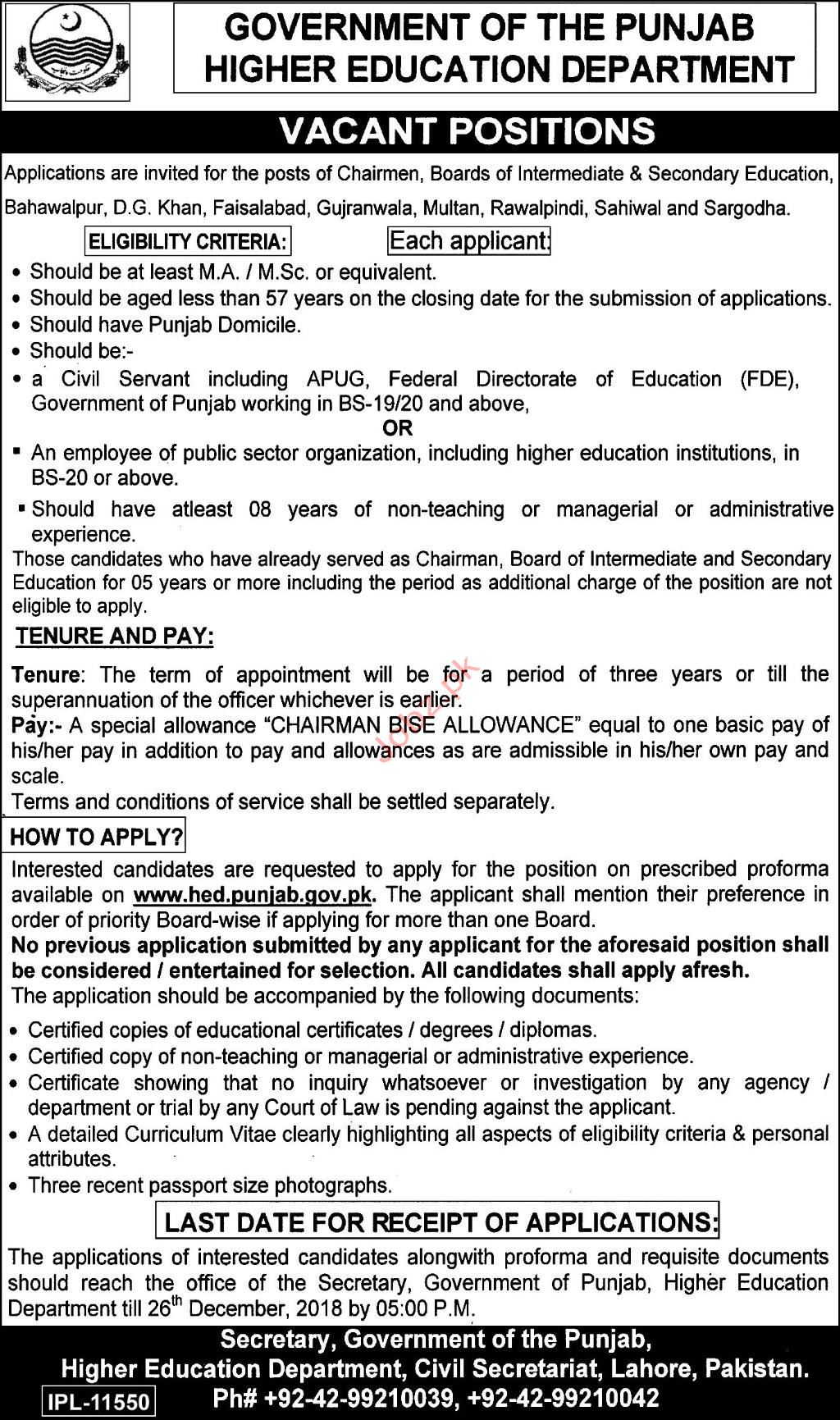 Higher Education Department Chairman BISE Jobs 2018