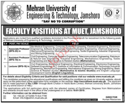 Associate Professor Jobs in Mehran University of Engineering