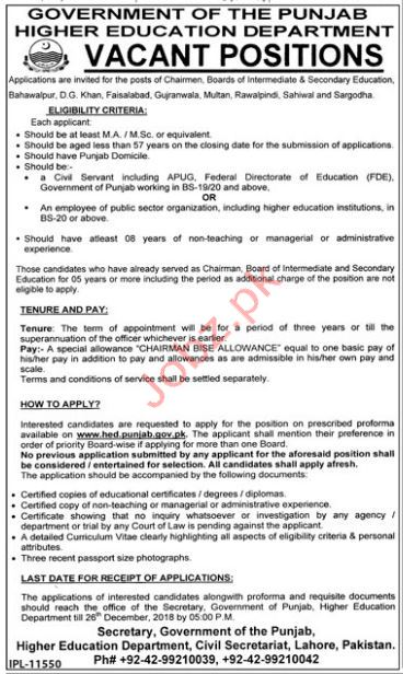 Chairman BISE Jobs in Higher Education Department