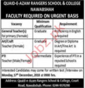 Quaid e Azam Rangers School & College Teaching Jobs 2018