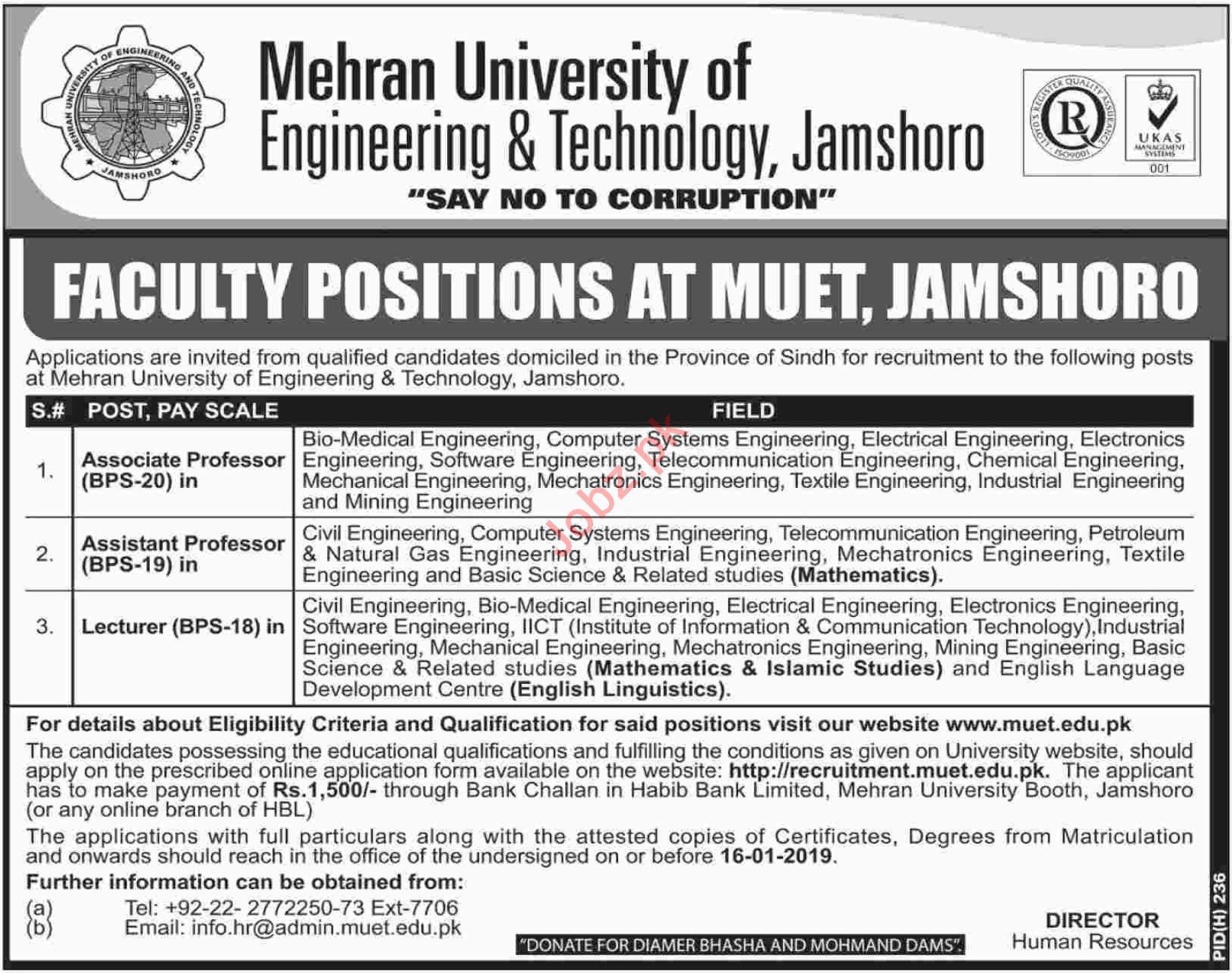 MUET University Jamshoro Jobs 2019 for Associate Professor