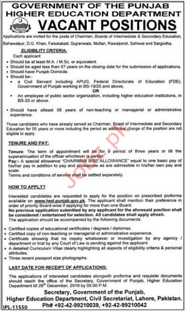 Higher Education Department Chairman BISE Jobs 2019 Job