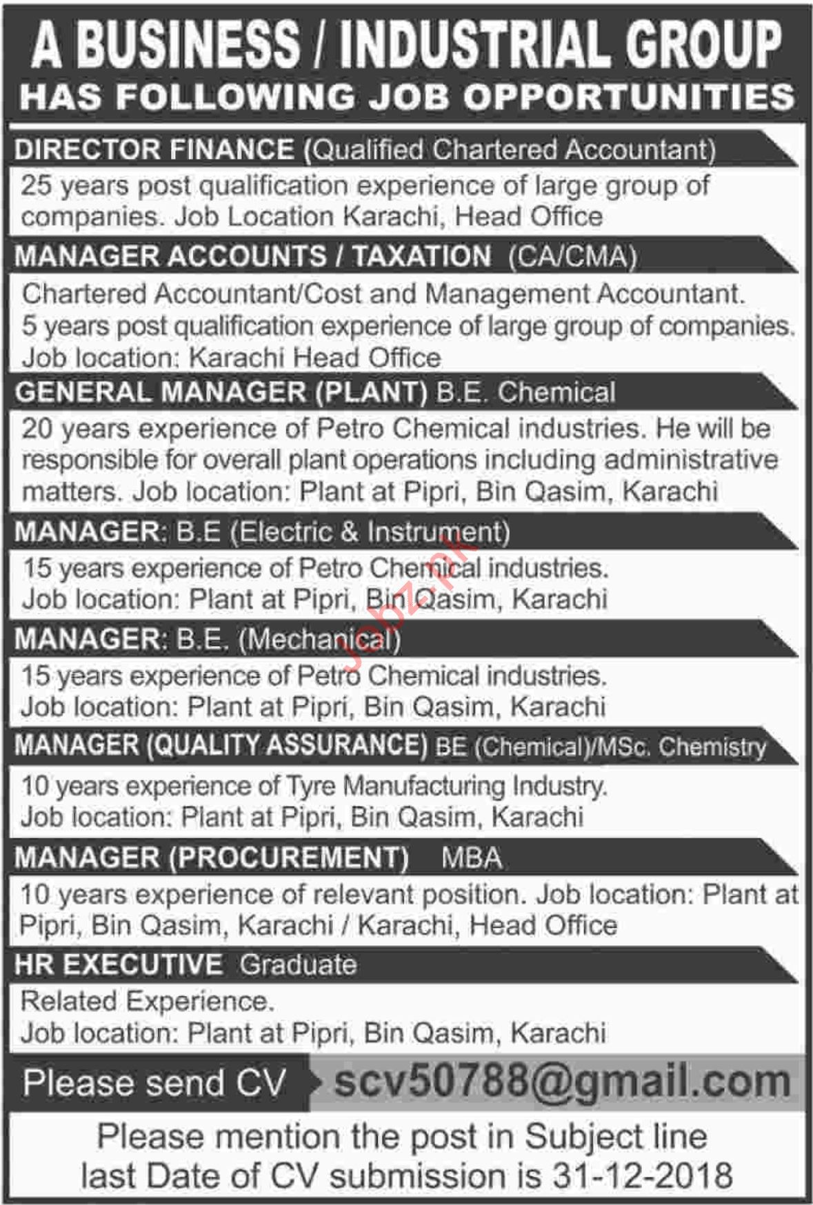 Director Finance Jobs at Industrial Group