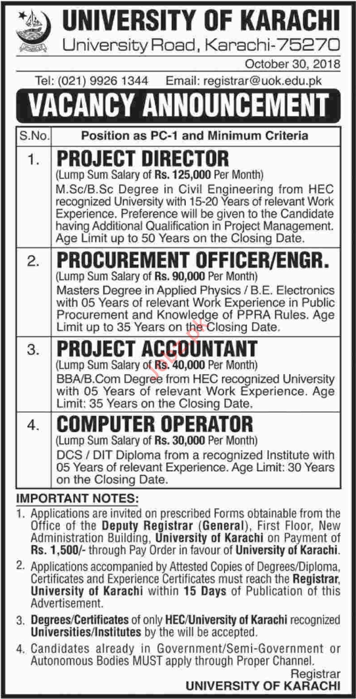 University of Karachi Project Director Jobs