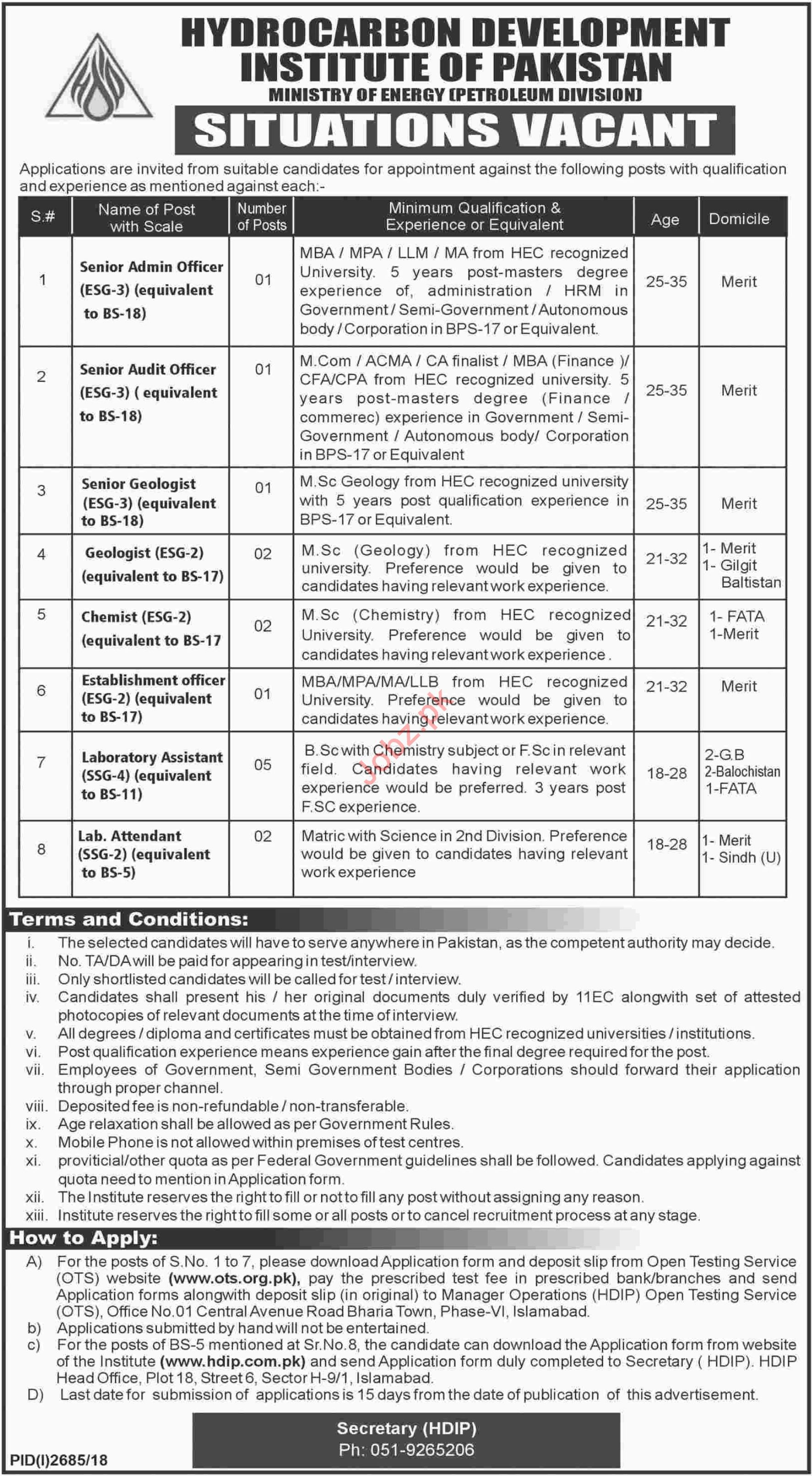 Hydrocarbon Development Institute of Pakistan HDIP Jobs 2019