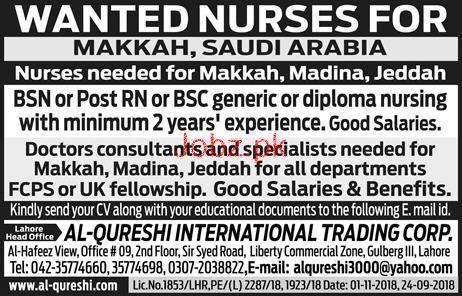 Nurses Job in Makkah Saudi Arabia 2019 Job Advertisement