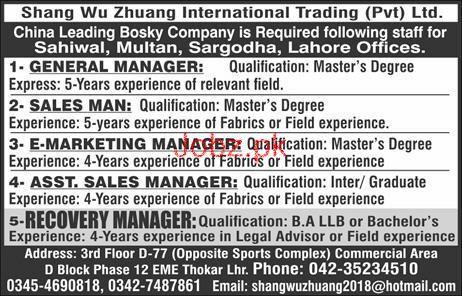 General Manager Job in Shang Wu Zhuang International Trading