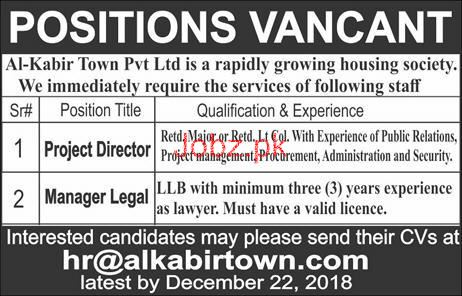 Project Director, Manager Legal Job in Al Kabir Town Pvt Ltd