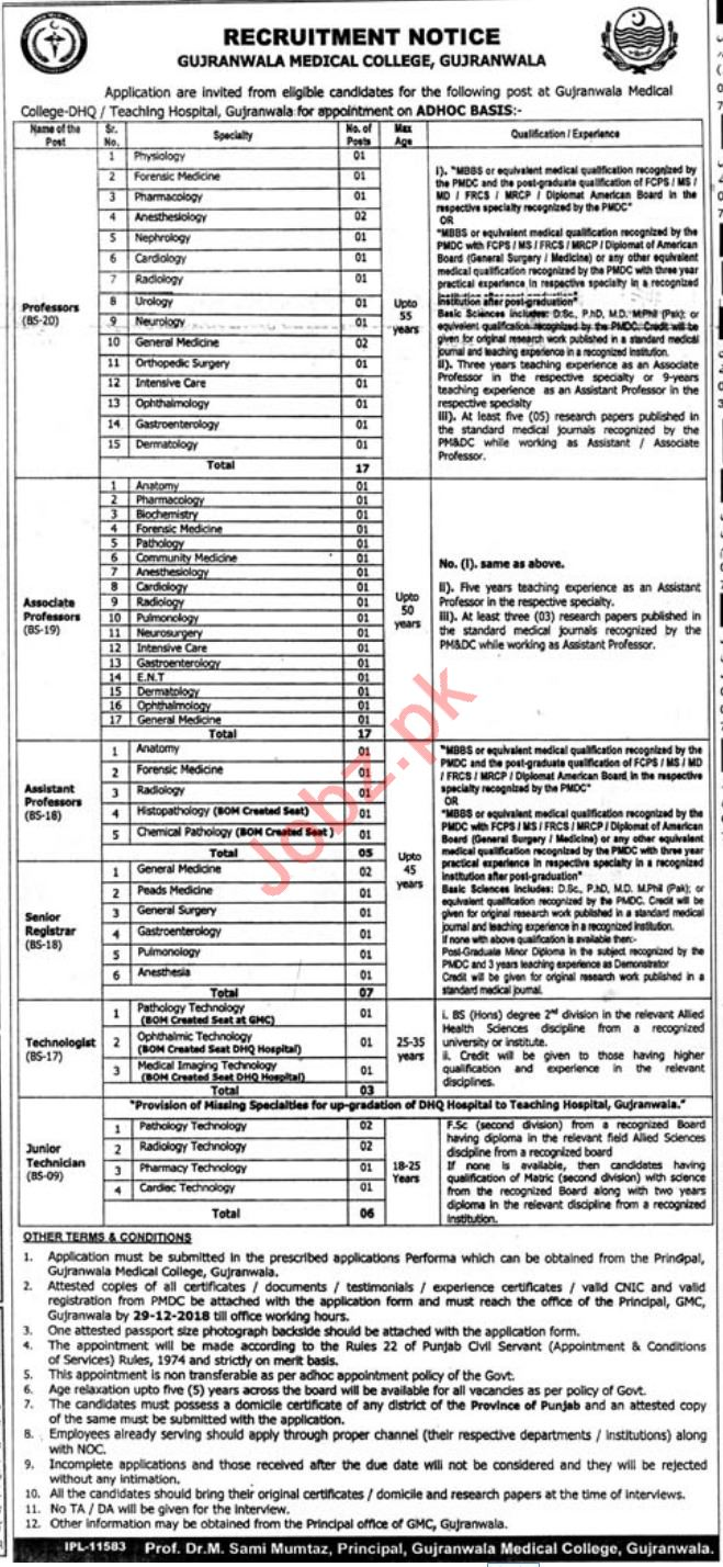 Gujranwala Medical College Professor Physiology Jobs