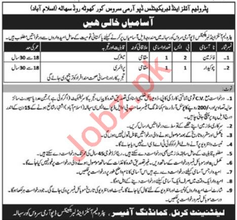 Petroleum Oils & Lubricants Depot Army Service Corps Jobs