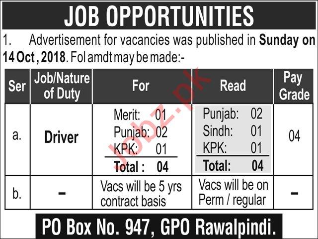 PO Box 947 GPO Rawalpindi Driver Jobs 2019 Job Advertisement