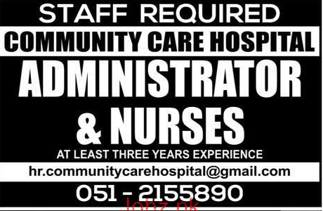 Administrator and Nurses Job in Community Care Hospital