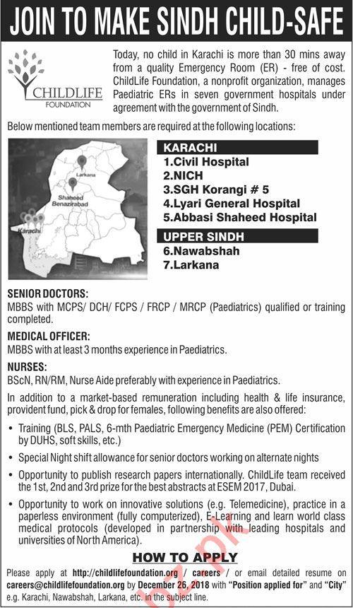Child Life Foundation Karachi NGO Jobs 2019 Medical Officers 2019