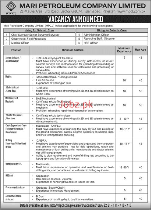 Chief Surveyor Job in MARI Petroleum Company Limited