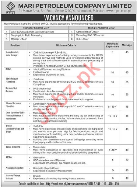 Mari Petroleum Company Ltd Chief Surveyor Job Opportunities