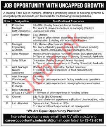 Feed Mill Jobs 2019 in Karachi