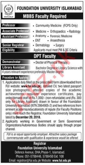 Foundation University Islamabad FUI Jobs 2019 for Professors
