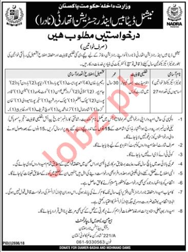 National Database & Registration Authority NADRA Jobs 2019