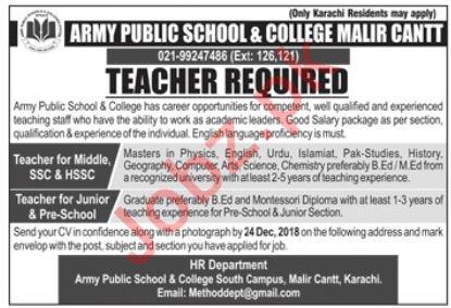 Army Public School & College APS&C Malir Cantt Jobs 2019