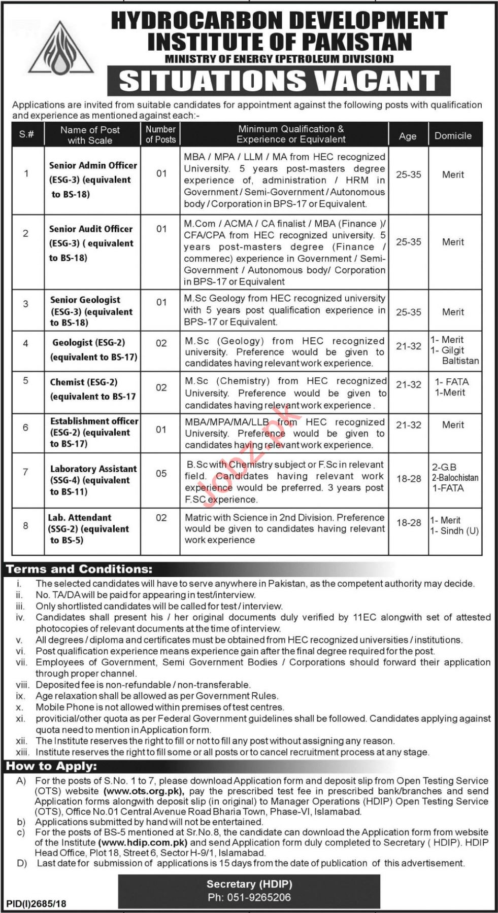 Hydrocarbon Development Institute of Pakistan Jobs via OTS
