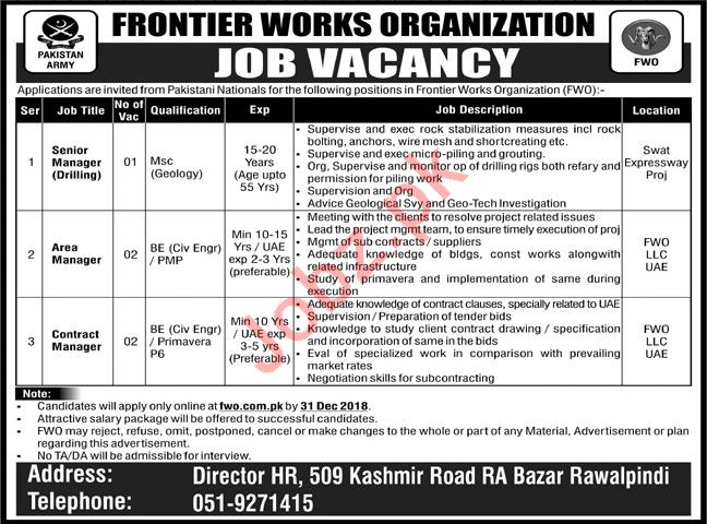 FWO Rawalpindi Jobs 2019 for Managers